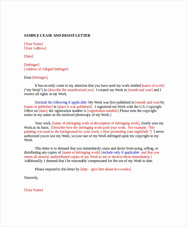 Sample Cease and Desist Letter New Letter Template 12 Free Word Pdf Documents Download