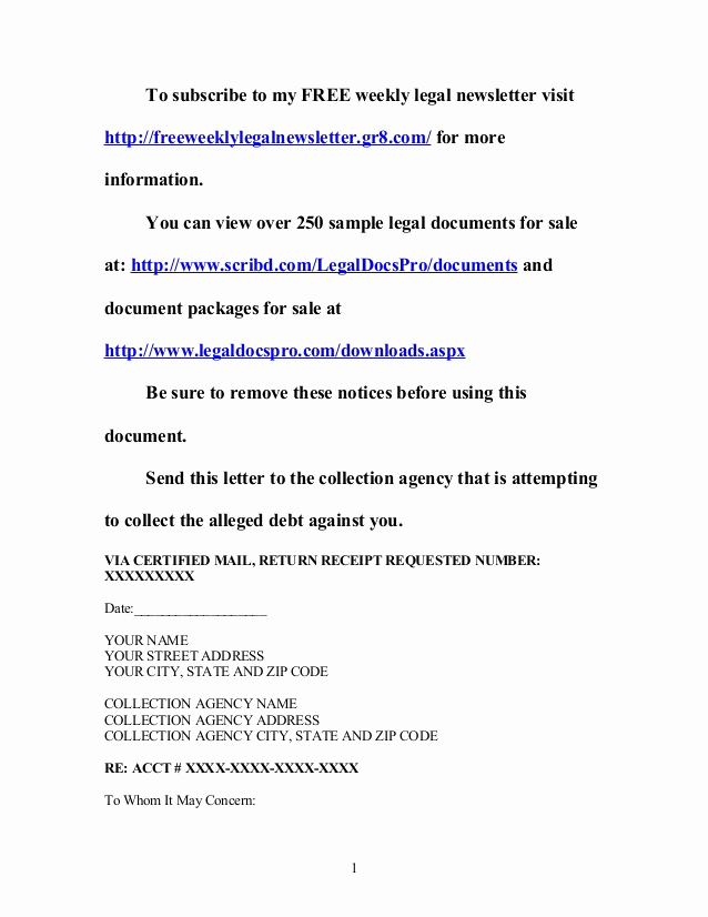 Sample Cease and Desist Letter New Sample Cease and Desist Letter to Collection Agency