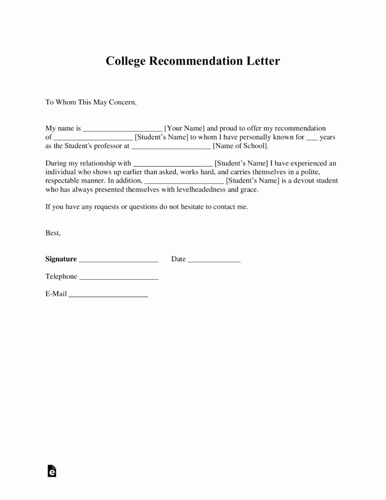 Sample College Recommendation Letter Elegant Free College Re Mendation Letter Template with Samples