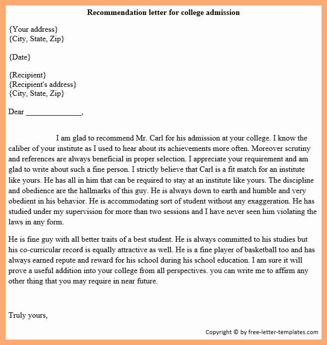 Sample College Recommendation Letter Inspirational How to Write A Re Mendation Letter [sample Templates