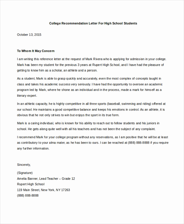 Sample College Recommendation Letter Luxury Sample College Letter Of Re Mendation 8 Free