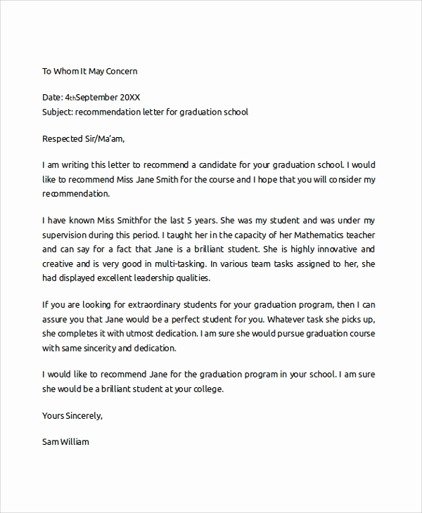 Sample College Recommendation Letter New 7 Sample College Re Mendation Letters
