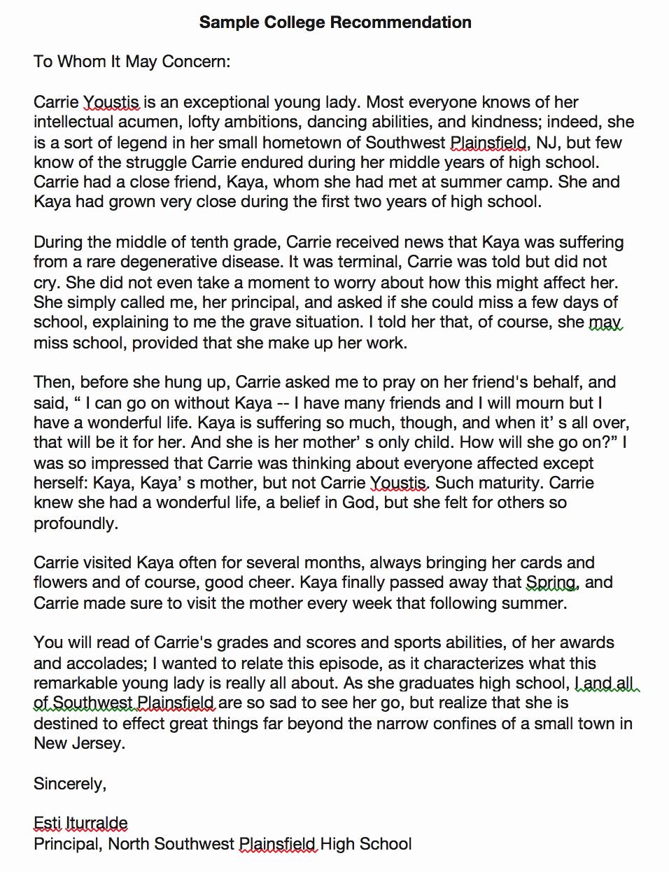 Sample College Recommendation Letter Unique Download College Re Mendation Letter Template and Sample