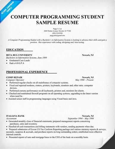 Sample Computer Science Resume Awesome Sample Puter Science Student Resume