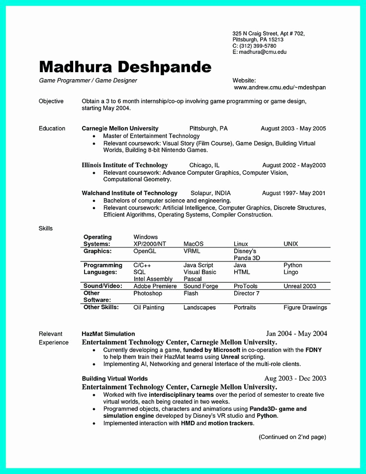 Sample Computer Science Resume Fresh 100 Ideas to Try About Resume Sample Template and format