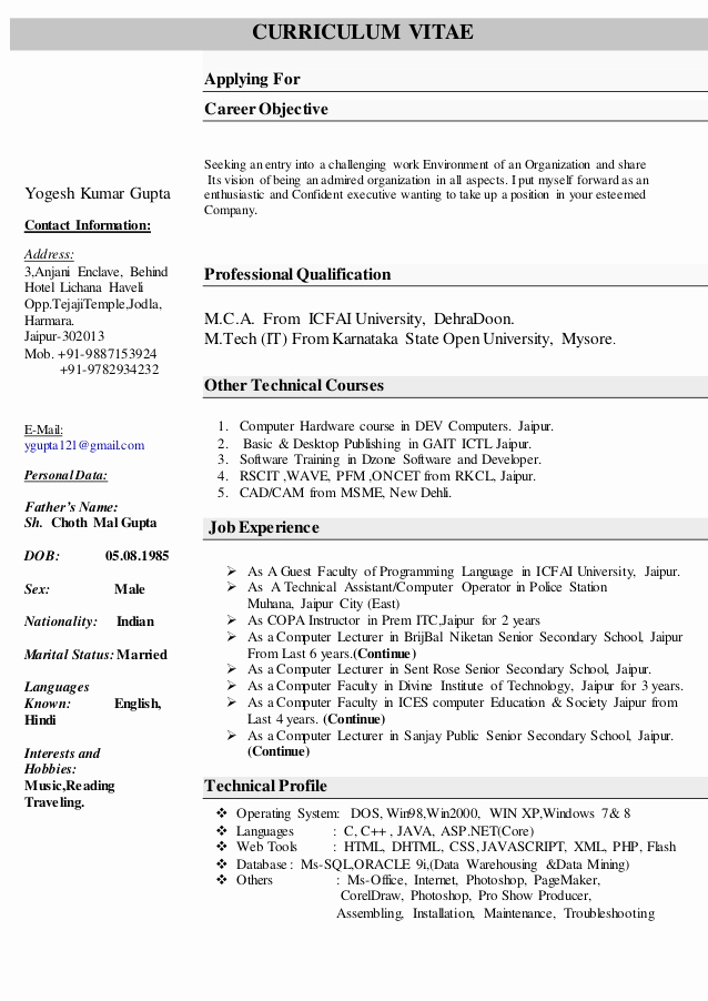 Sample Computer Science Resume Lovely Resume for Puter Science Faculty
