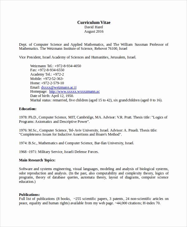 Sample Computer Science Resume Unique 8 Sample Puter Science Resumes