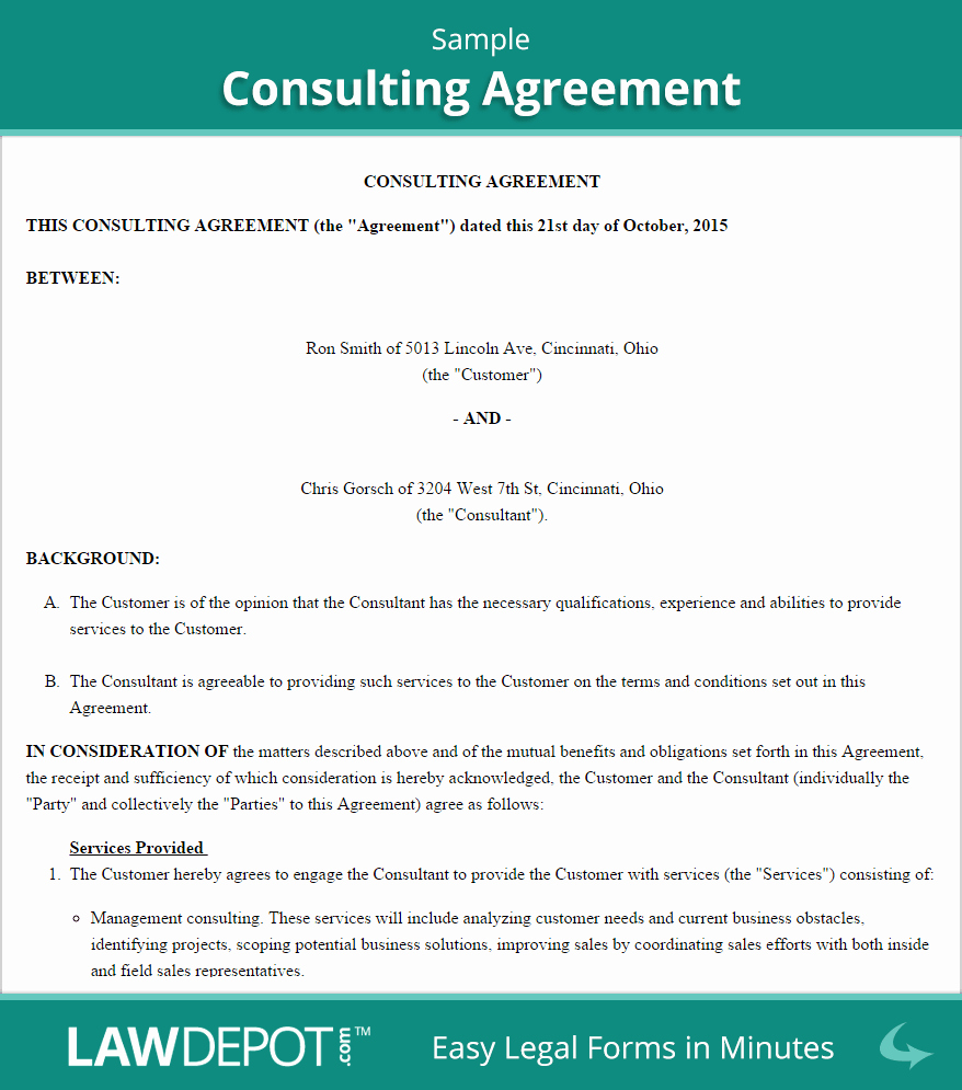 Sample Contract for Services Inspirational Consulting Agreement Template Us