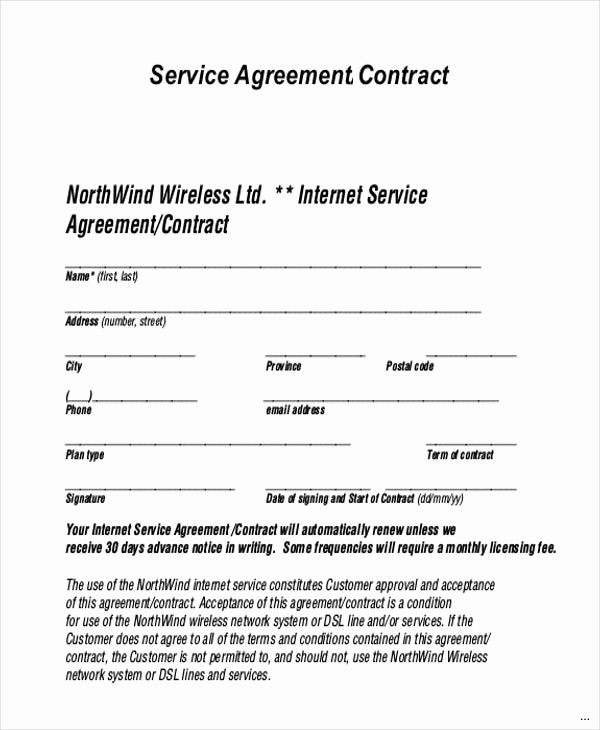 Sample Contract for Services Inspirational Service Agreement Contract Template