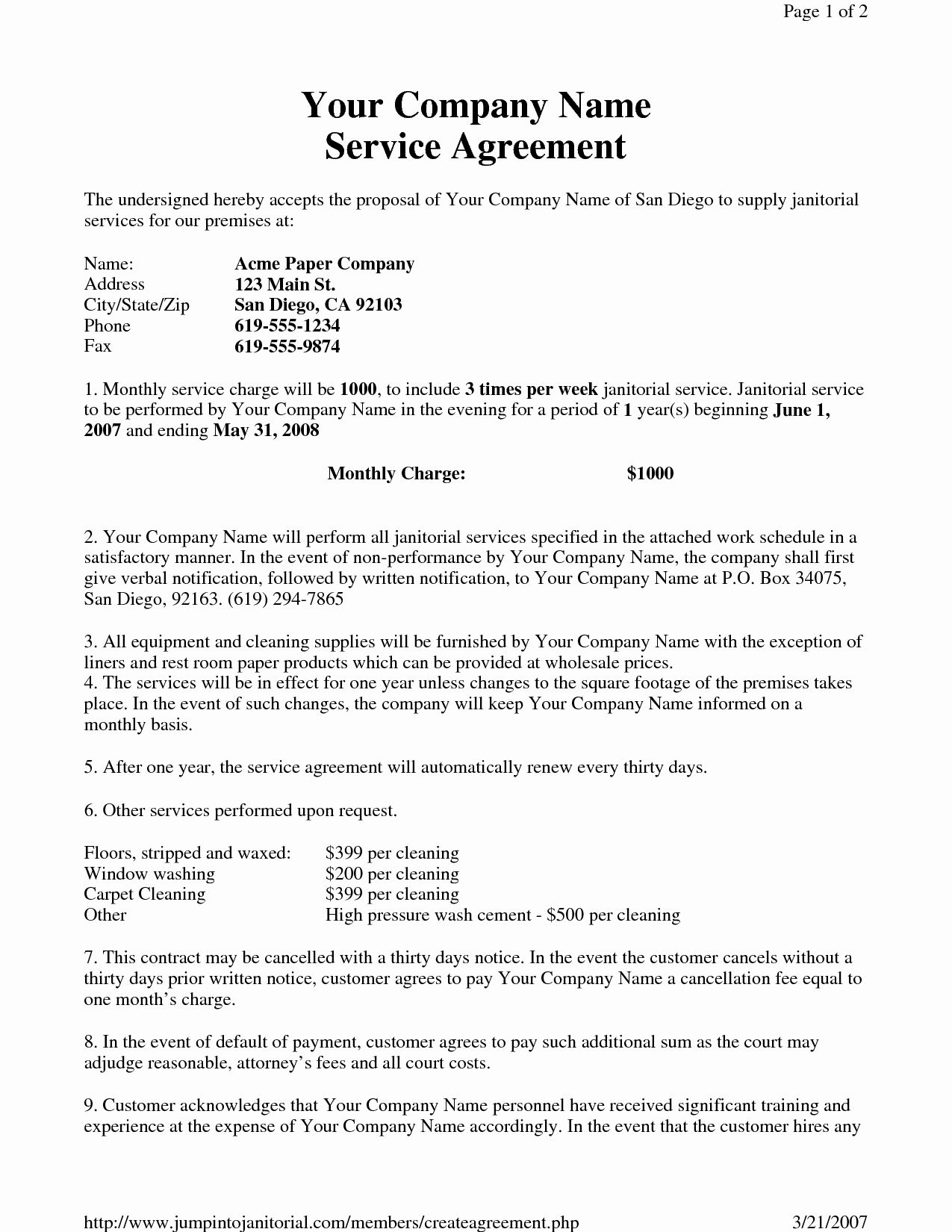 Sample Contract for Services Lovely Janitorial Service Agreement by Hgh Sample