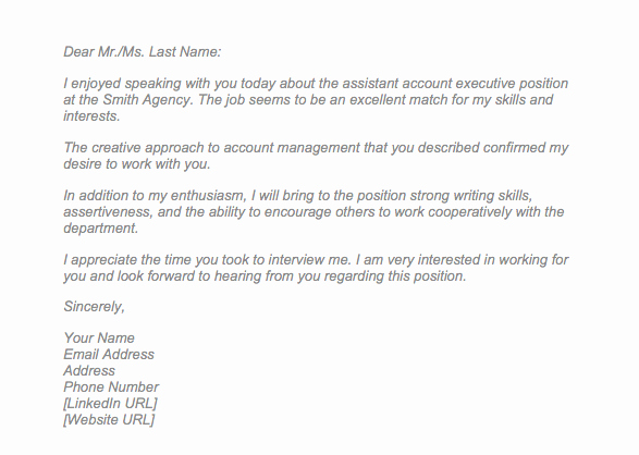 Sample Email after Interview Awesome Sample Thank You Letter after Interview Via Email