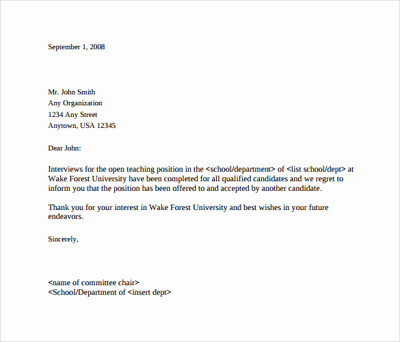 Sample Email after Interview Fresh 9 Rejection Letters after Interview to Download