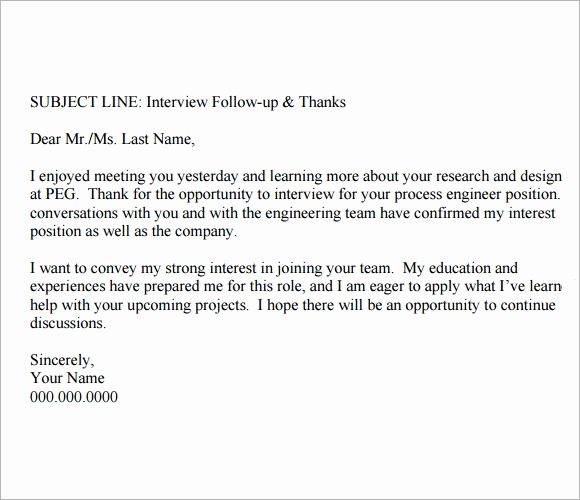 Sample Email after Interview Fresh Follow Up Email after Interview Template 8 Free