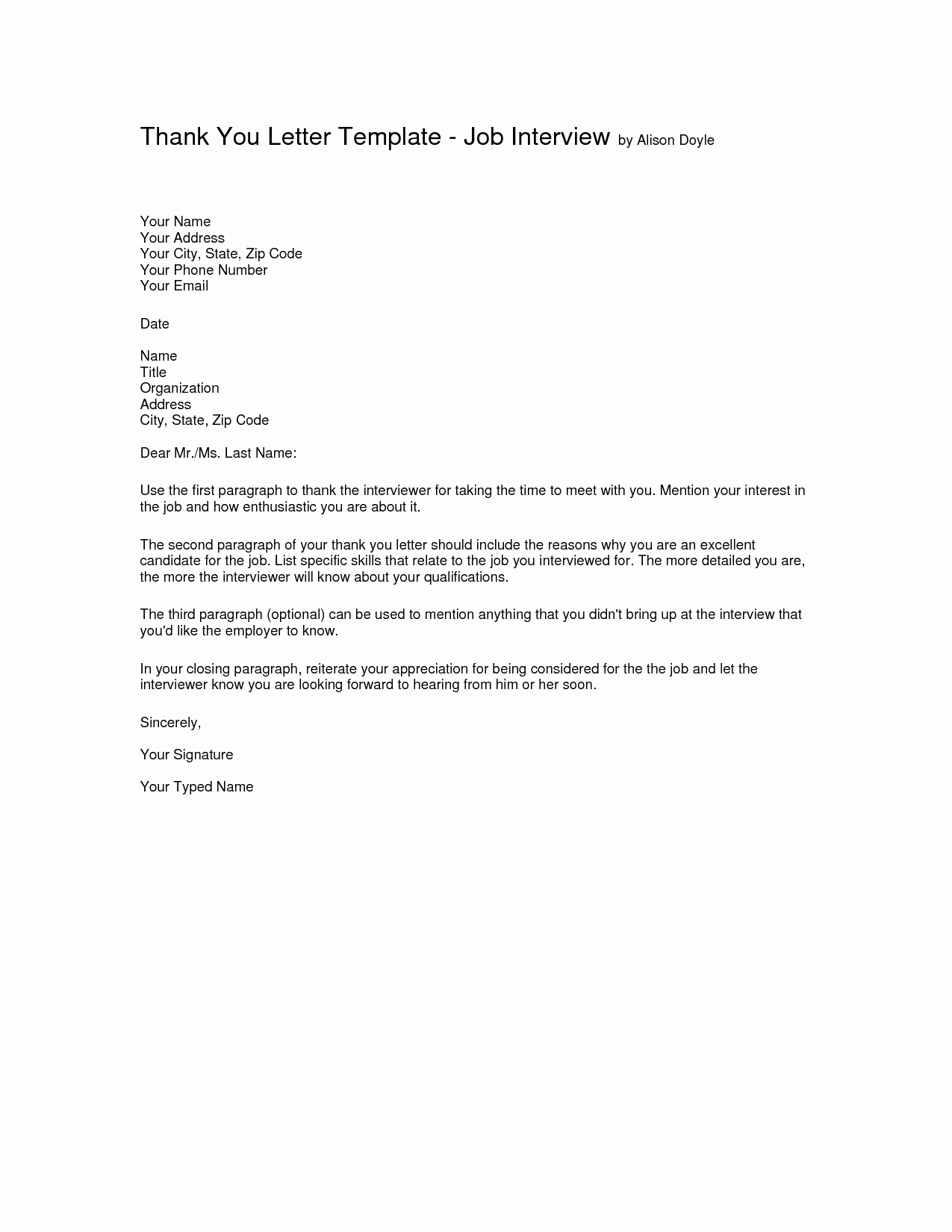 Sample Email after Interview Fresh Interview Thank You Letter Template Thank You Letter