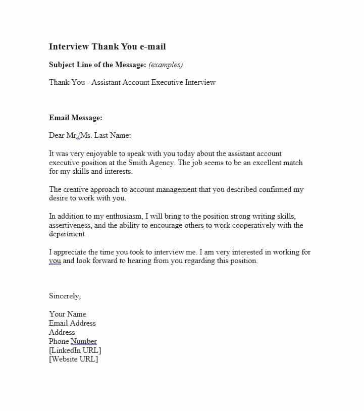 Sample Email after Interview Inspirational 40 Thank You Email after Interview Templates Template Lab