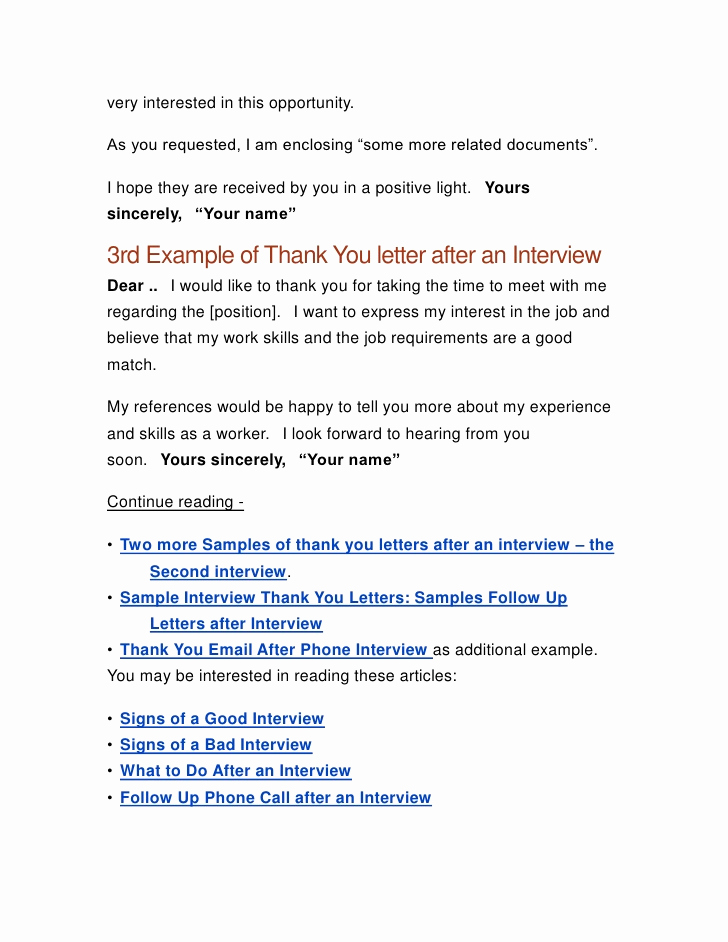Sample Email after Interview Inspirational Thank You Letter after A Job Interview