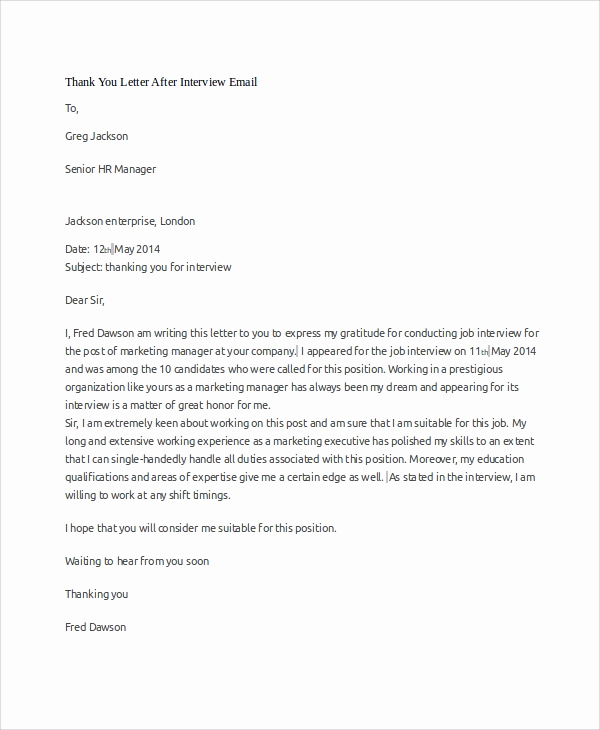 Sample Email after Interview New Sample Interview Thank You Letter 10 Examples In Word Pdf