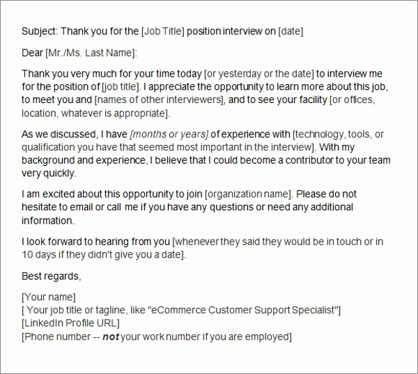 Sample Email after Interview Unique Sample Thank You Letter after Interview 15 Free