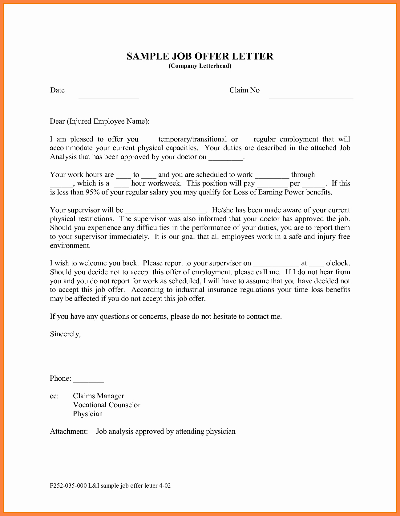 Sample Employment Offer Letter Beautiful 10 Offer Of Employment Letter
