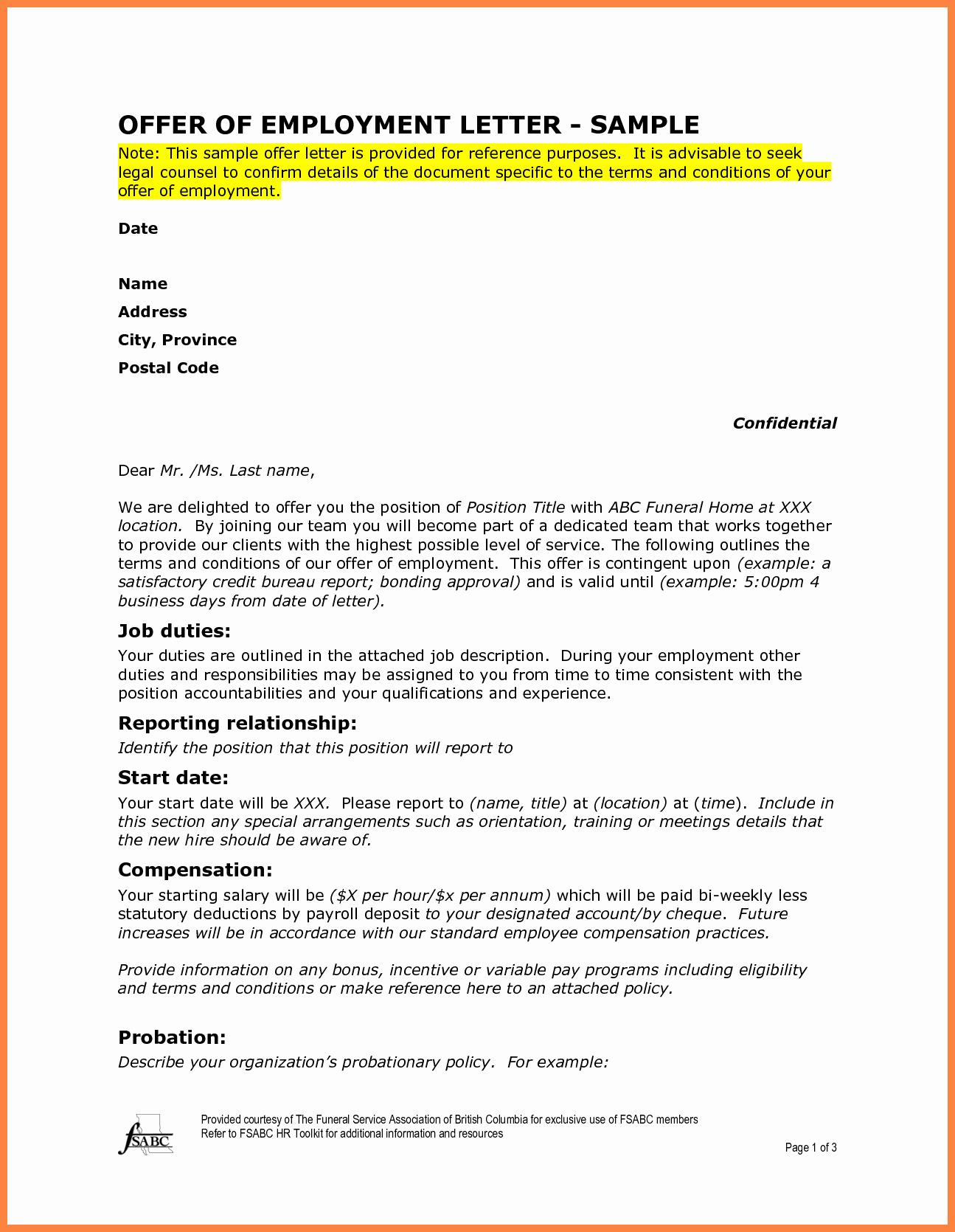 Sample Employment Offer Letter Best Of 10 Offer Of Employment Letter