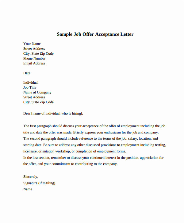 Sample Employment Offer Letter Best Of Job Fer Acceptance Letter 8 Free Pdf Documents