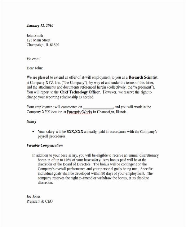 Sample Employment Offer Letter Best Of Sample Employment Fer Letter 8 Documents In Pdf Word