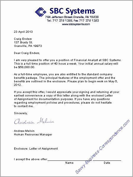 Sample Employment Offer Letter Elegant A Job Offer Letter format Business Letters