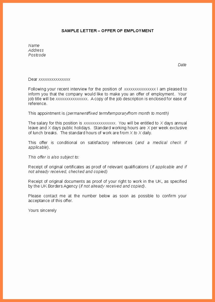Sample Employment Offer Letter Fresh 10 Offer Of Employment Letter
