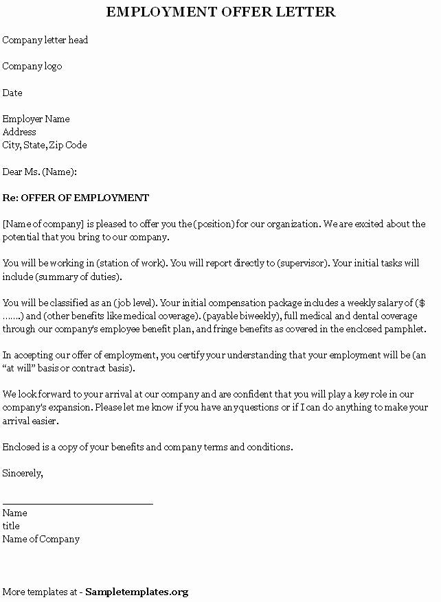 Sample Employment Offer Letter Fresh Employment Template for Fer Letter Sample Of Employment