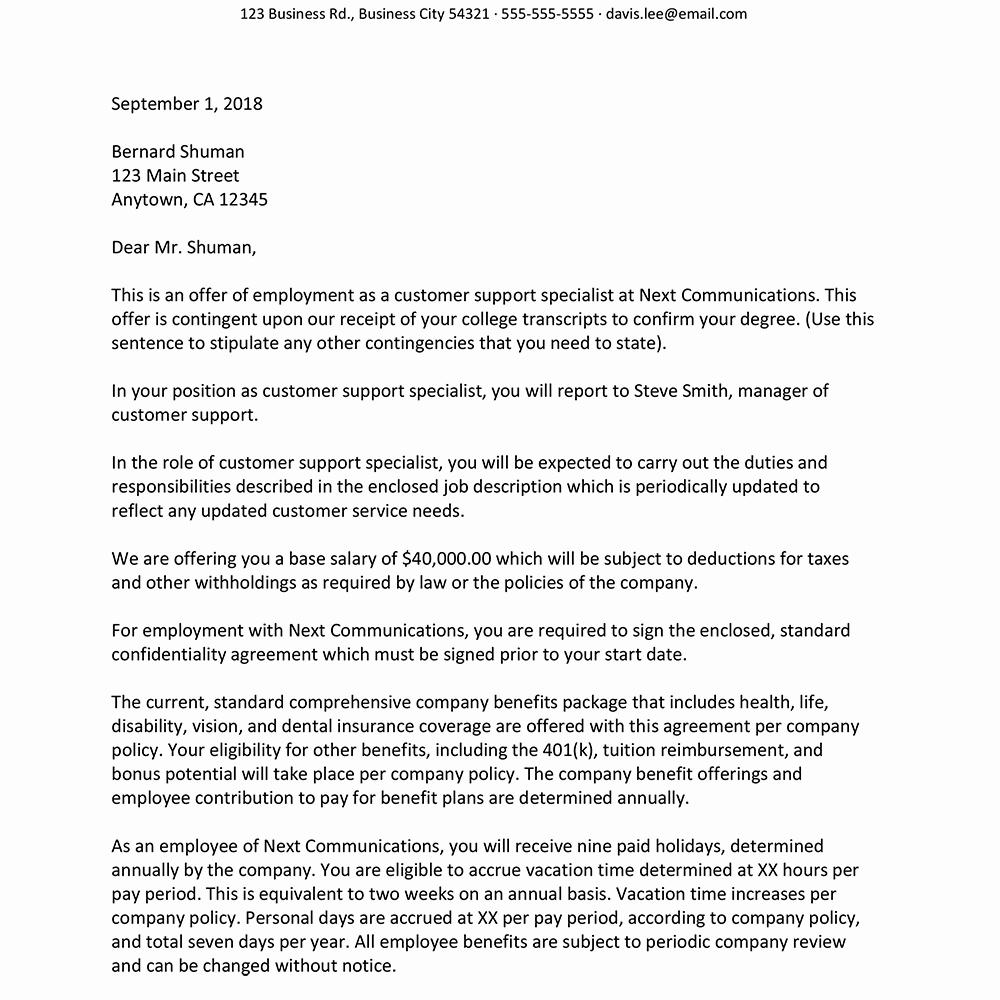Sample Employment Offer Letter New Sample Job Fer Letter Suited for Most Jobs