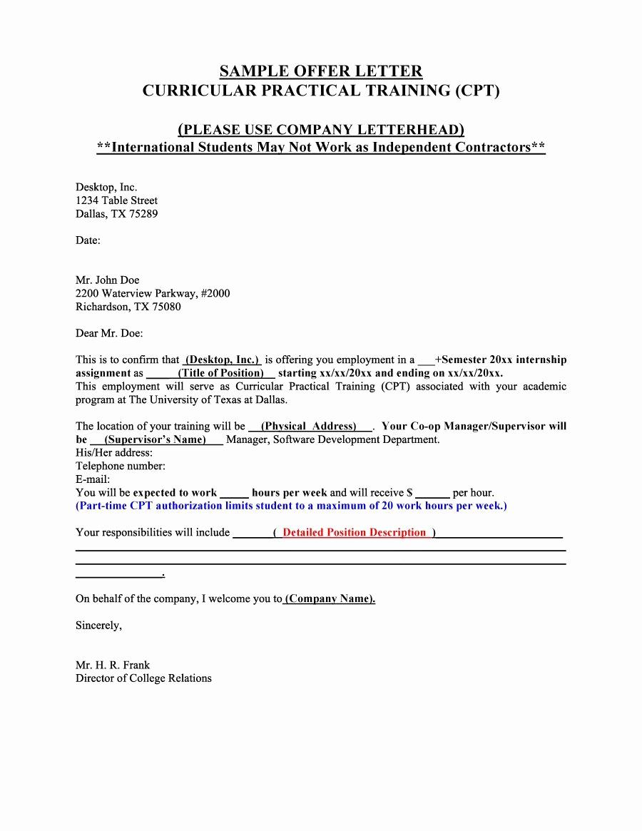 Sample Employment Offer Letter Unique 44 Fantastic Fer Letter Templates [employment Counter