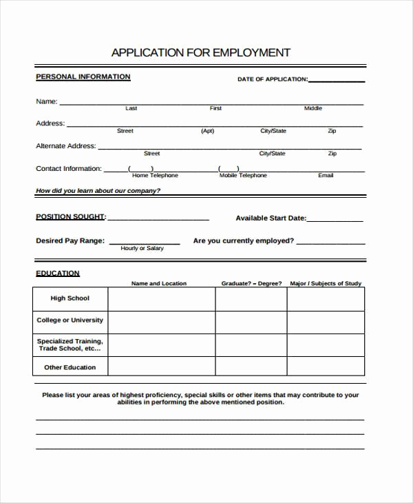 Sample Job Application form Awesome Employment Application forms