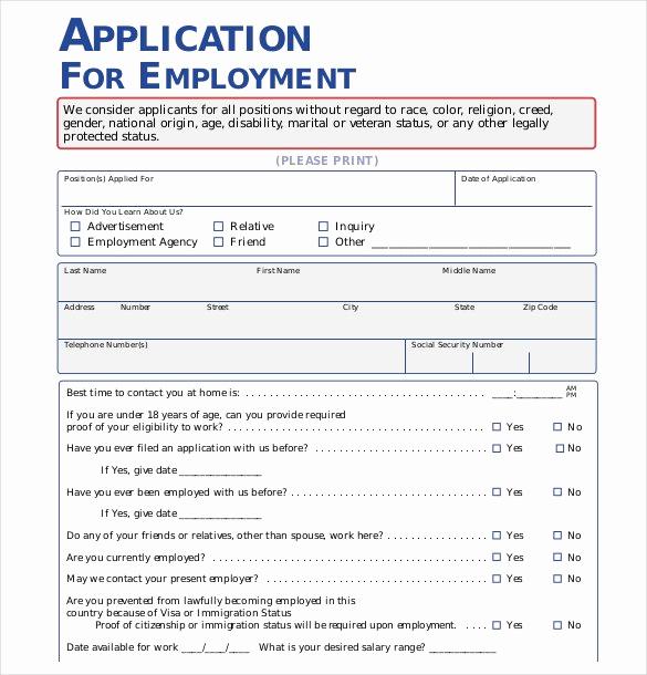 Sample Job Application form Lovely 21 Employment Application Templates Pdf Doc