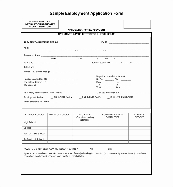 Sample Job Application form Lovely Sample Employment Application forms 12 Free Documents