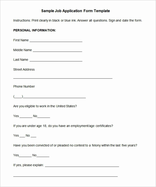 Sample Job Application form New Job Application Template 19 Examples In Pdf Word