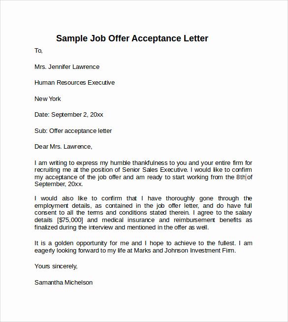 Sample Job Offer Letter Beautiful 9 Sample Fer Acceptance Letters to Download