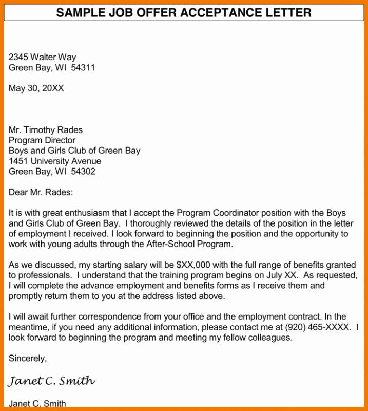 Sample Job Offer Letter Best Of Job Fer Acceptance Letter