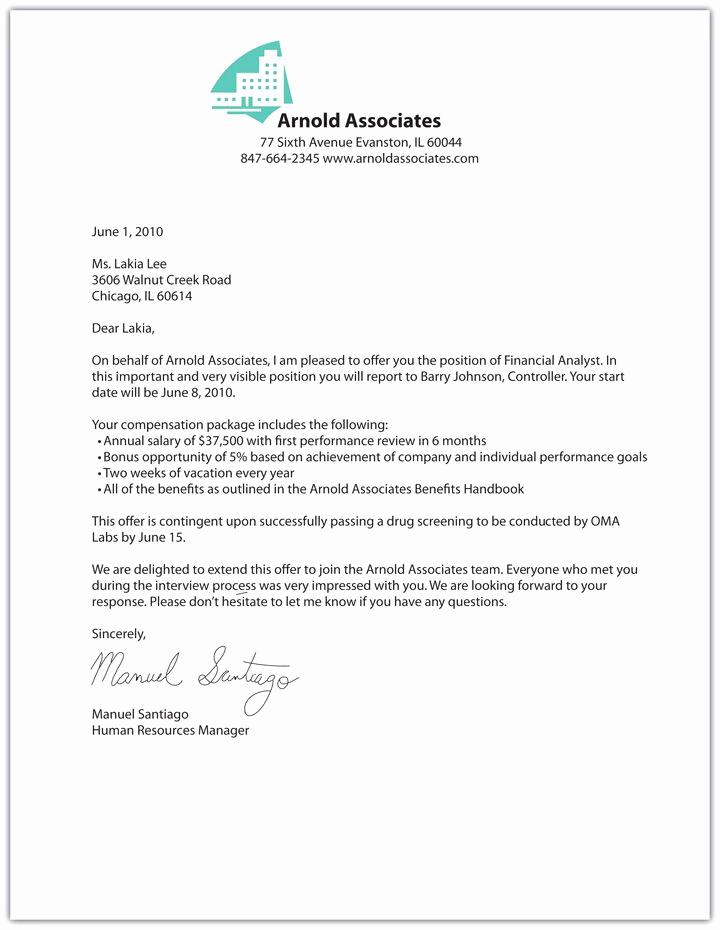 Sample Job Offer Letter Best Of Printable Sample Fer Letter Sample form