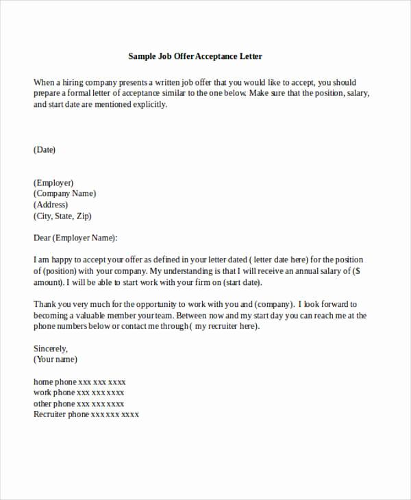 Sample Job Offer Letter Elegant 14 Job Acceptance Letters