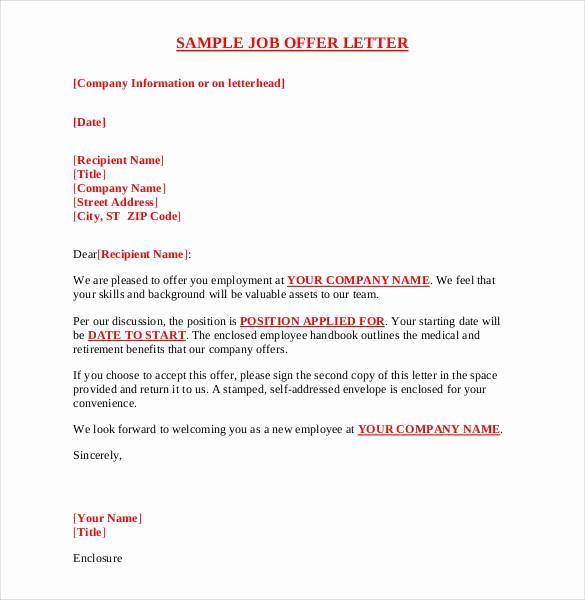 Sample Job Offer Letter Fresh 70 Fer Letter Templates Pdf Doc