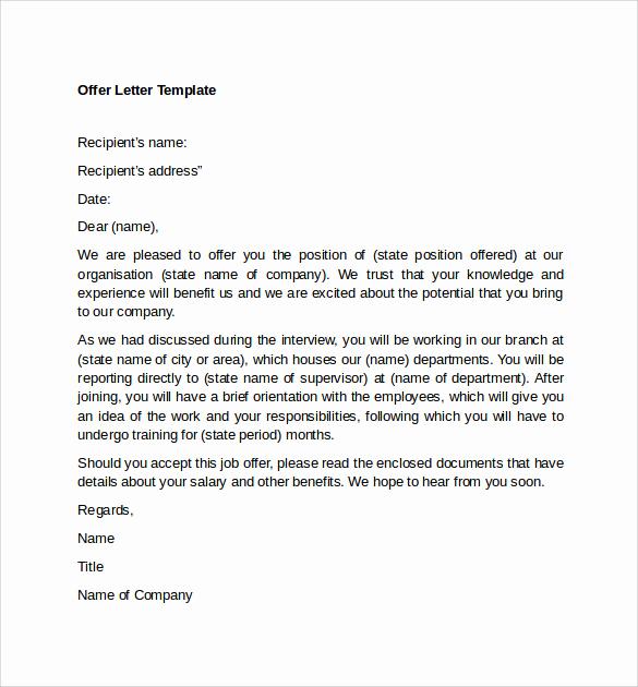 Sample Job Offer Letter Inspirational Sample Fer Letter Template 14 Free Examples format