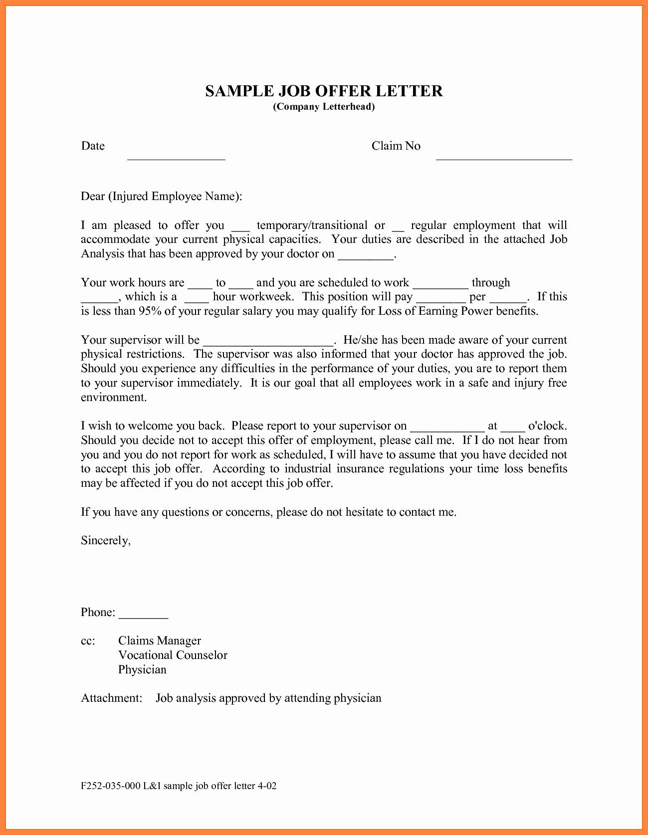 Sample Job Offer Letter Lovely 10 Offer Of Employment Letter