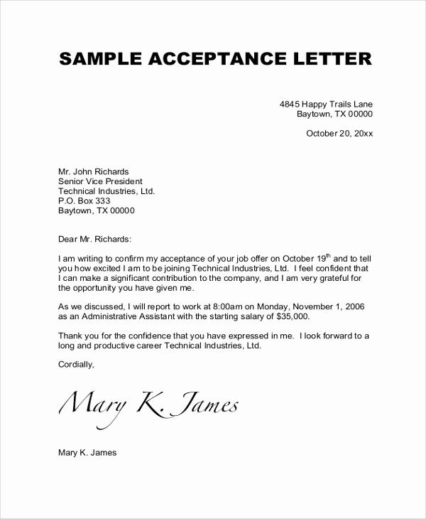 Sample Job Offer Letter Lovely Sample Job Acceptance Letter 7 Documents In Pdf Word
