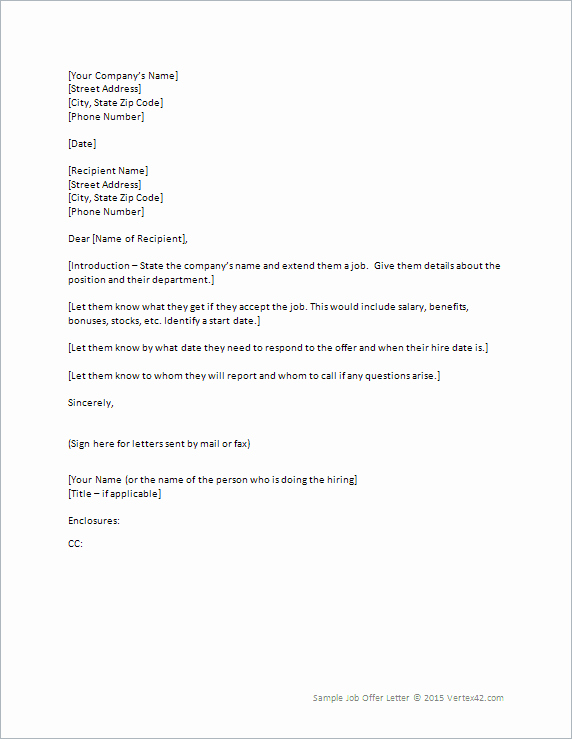 Sample Job Offer Letter New Free Printable Fer Letter Sample form Generic
