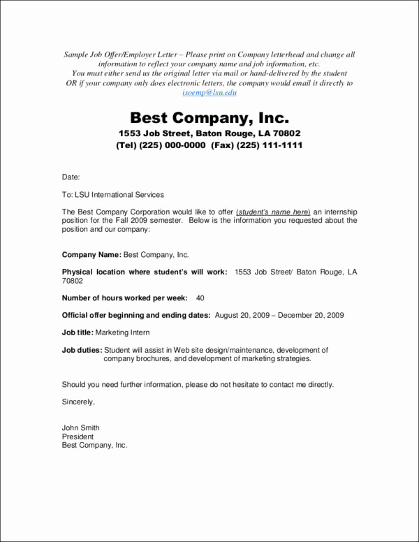Sample Job Offer Letter Unique Job Fer Acceptance Letters—tips Examples and Guide