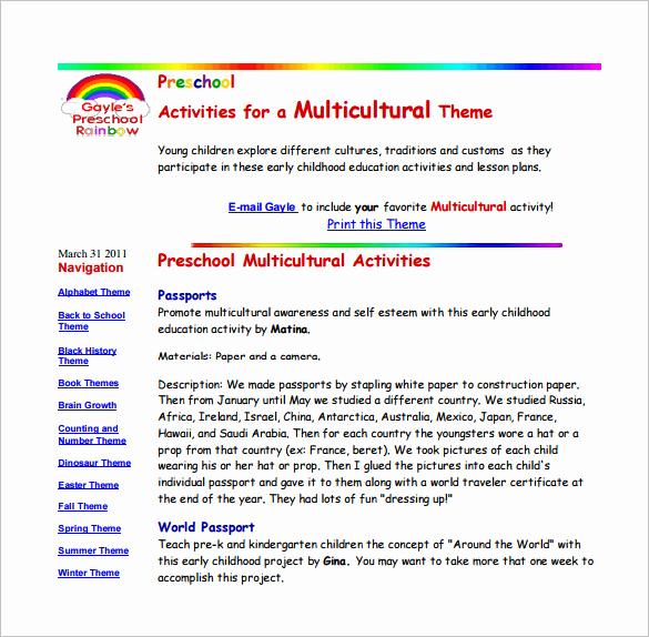 Sample Lesson Plan for Preschool Awesome Preschool Lesson Plan Template 11 Free Pdf Word format