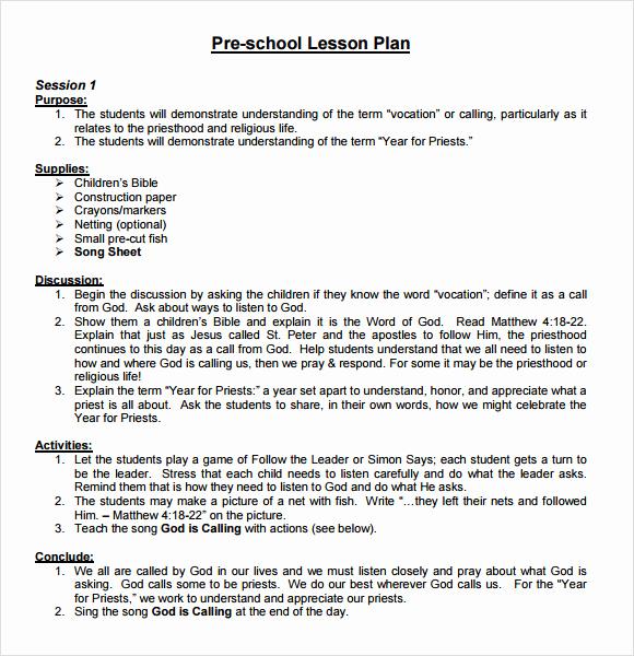 Sample Lesson Plan for Preschool Awesome Sample Preschool Lesson Plan 10 Pdf Word formats