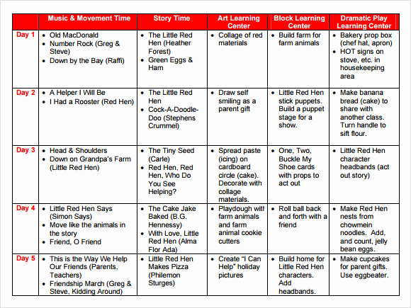 Sample Lesson Plan for Preschool Fresh Sample Preschool Lesson Plan 10 Pdf Word formats