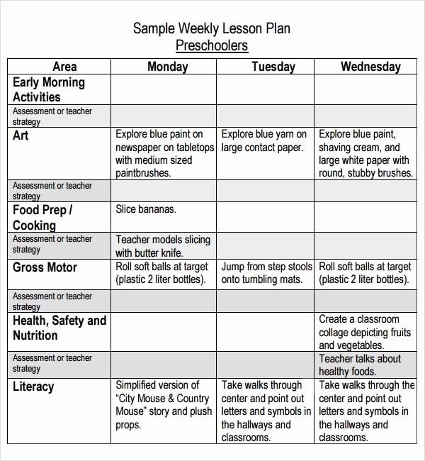 Sample Lesson Plan for Preschool Inspirational Preschool Lesson Plan Template 11 Free Pdf Doc Download
