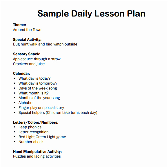 Sample Lesson Plan for Preschool Inspirational Sample Daily Lesson Plan 8 Documents In Pdf Word